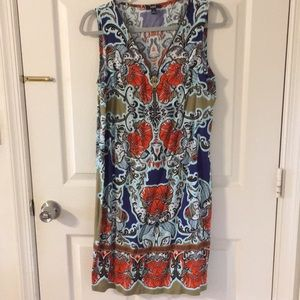 Hawaiian Print Shift Dress size M
